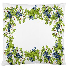Birthday Card Flowers Daisies Ivy Large Flano Cushion Case (two Sides) by Nexatart