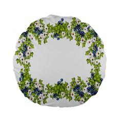 Birthday Card Flowers Daisies Ivy Standard 15  Premium Flano Round Cushions by Nexatart