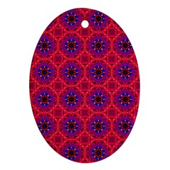 Retro Abstract Boho Unique Oval Ornament (two Sides) by Nexatart