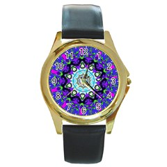 Graphic Isolated Mandela Colorful Round Gold Metal Watch