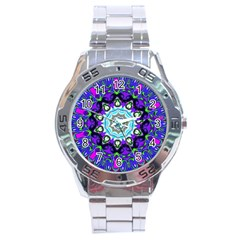 Graphic Isolated Mandela Colorful Stainless Steel Analogue Watch by Nexatart
