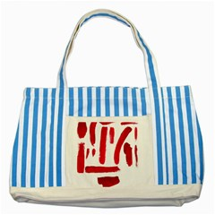 Paint Paint Smear Splotch Texture Striped Blue Tote Bag by Nexatart