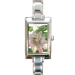 Passion Flower Flower Plant Blossom Rectangle Italian Charm Watch by Nexatart