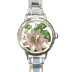 Passion Flower Flower Plant Blossom Round Italian Charm Watch by Nexatart