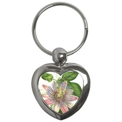 Passion Flower Flower Plant Blossom Key Chains (heart)  by Nexatart