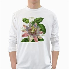 Passion Flower Flower Plant Blossom White Long Sleeve T Shirts by Nexatart