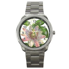 Passion Flower Flower Plant Blossom Sport Metal Watch by Nexatart