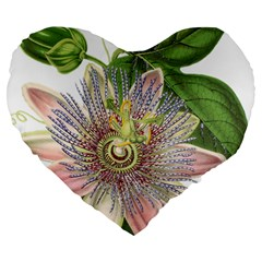 Passion Flower Flower Plant Blossom Large 19  Premium Heart Shape Cushions by Nexatart