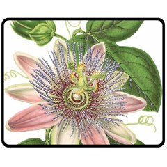 Passion Flower Flower Plant Blossom Double Sided Fleece Blanket (medium)