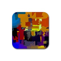 Abstract Vibrant Colour Rubber Coaster (square)  by Nexatart