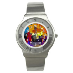 Abstract Vibrant Colour Stainless Steel Watch by Nexatart