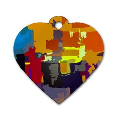 Abstract Vibrant Colour Dog Tag Heart (one Side)