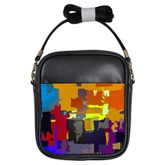 Abstract Vibrant Colour Girls Sling Bags by Nexatart