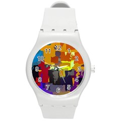 Abstract Vibrant Colour Round Plastic Sport Watch (m) by Nexatart
