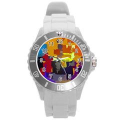 Abstract Vibrant Colour Round Plastic Sport Watch (l)