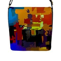 Abstract Vibrant Colour Flap Messenger Bag (l)  by Nexatart