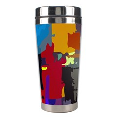 Abstract Vibrant Colour Stainless Steel Travel Tumblers by Nexatart