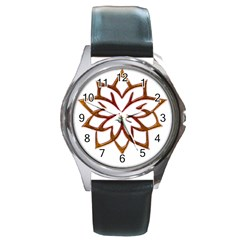 Abstract Shape Outline Floral Gold Round Metal Watch