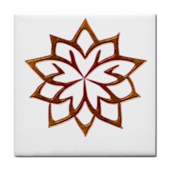 Abstract Shape Outline Floral Gold Tile Coasters