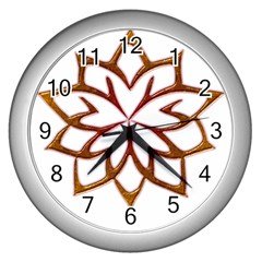 Abstract Shape Outline Floral Gold Wall Clocks (silver)  by Nexatart