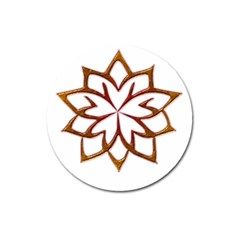 Abstract Shape Outline Floral Gold Magnet 3  (round) by Nexatart