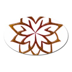 Abstract Shape Outline Floral Gold Oval Magnet by Nexatart