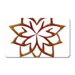 Abstract Shape Outline Floral Gold Magnet (rectangular)