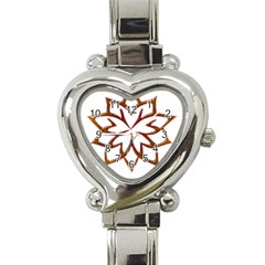 Abstract Shape Outline Floral Gold Heart Italian Charm Watch by Nexatart