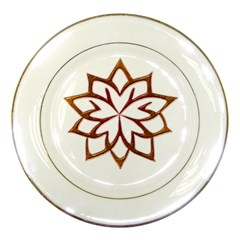 Abstract Shape Outline Floral Gold Porcelain Plates by Nexatart