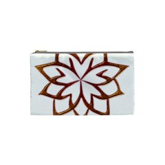 Abstract Shape Outline Floral Gold Cosmetic Bag (small)  by Nexatart