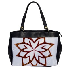 Abstract Shape Outline Floral Gold Office Handbags
