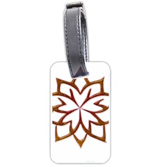 Abstract Shape Outline Floral Gold Luggage Tags (two Sides)