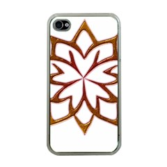 Abstract Shape Outline Floral Gold Apple Iphone 4 Case (clear)