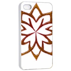 Abstract Shape Outline Floral Gold Apple Iphone 4/4s Seamless Case (white) by Nexatart