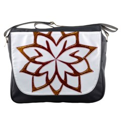 Abstract Shape Outline Floral Gold Messenger Bags