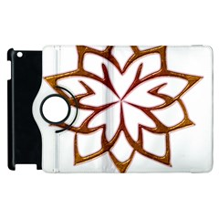 Abstract Shape Outline Floral Gold Apple Ipad 3/4 Flip 360 Case by Nexatart