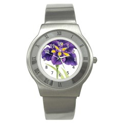Lily Flower Plant Blossom Bloom Stainless Steel Watch by Nexatart