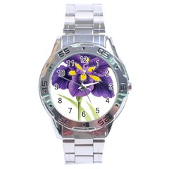 Lily Flower Plant Blossom Bloom Stainless Steel Analogue Watch