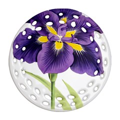 Lily Flower Plant Blossom Bloom Round Filigree Ornament (two Sides)
