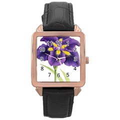 Lily Flower Plant Blossom Bloom Rose Gold Leather Watch  by Nexatart