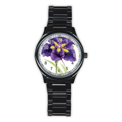 Lily Flower Plant Blossom Bloom Stainless Steel Round Watch by Nexatart
