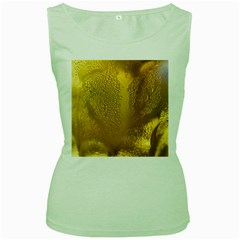 Beer Beverage Glass Yellow Cup Women s Green Tank Top