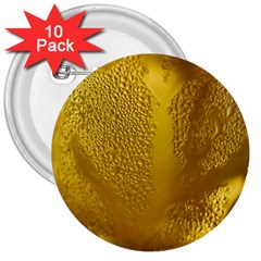 Beer Beverage Glass Yellow Cup 3  Buttons (10 Pack)