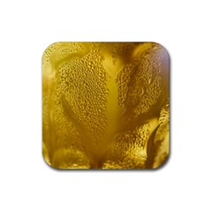 Beer Beverage Glass Yellow Cup Rubber Square Coaster (4 Pack)