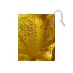 Beer Beverage Glass Yellow Cup Drawstring Pouches (medium)  by Nexatart