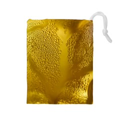 Beer Beverage Glass Yellow Cup Drawstring Pouches (large)  by Nexatart
