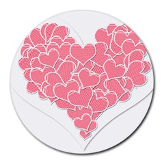Heart Stripes Symbol Striped Round Mousepads