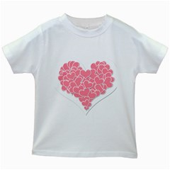 Heart Stripes Symbol Striped Kids White T Shirts