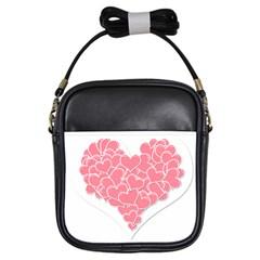 Heart Stripes Symbol Striped Girls Sling Bags by Nexatart