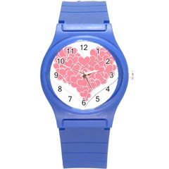 Heart Stripes Symbol Striped Round Plastic Sport Watch (s) by Nexatart